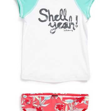 Girl's Billabong 'Shell Yeah!' Two-Piece Rashguard Swimsuit,