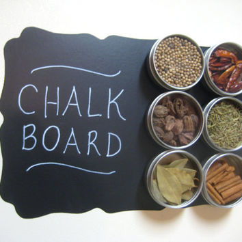 Fridge Chalkboard Spice Rack - Foodie Fun, Vinyl Chalk Board Decal with 6 Magnetic Spice Tins, Ready to Ship