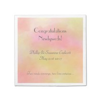 Elegant Wedding Newlyweds Yellow Pink Watercolor Napkin
