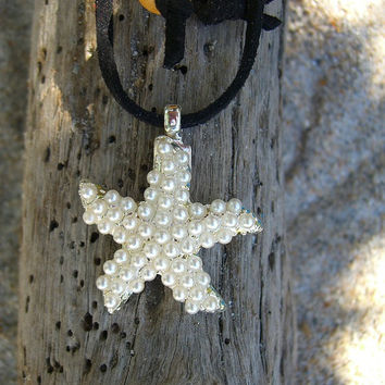 Starfish Silver Pearl Pendant Necklace-FREE SHIPPING-Stocking Stuffers, Gifts under 25, Beach Wedding, Mermaids, Starfish, Beach