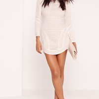 Missguided - Premium Lace Curve Hem Bardot Bodycon Dress White