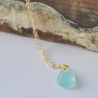 Supermarket: Aqua Chalcedony necklace, March birthstone necklace from Anci Decor Jewelry
