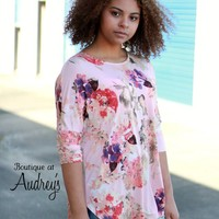 Blush Floral Print Dolman Fit Top