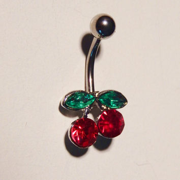 Rhinestone Red Cherries Belly Ring