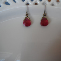 Magenta Swarovski Crystal Earrings Antique Bronze Pink Dangle Gift fashion under 20