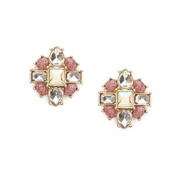Faux Crystal & Gem Stud Earrings