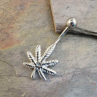 Marijuana Pot Leaf Belly Button Jewelry Ring