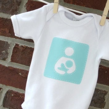 breastfeeding support baby bodysuit, hand appliqued breastfeeding symbol on white one piece for baby, baby shower gift