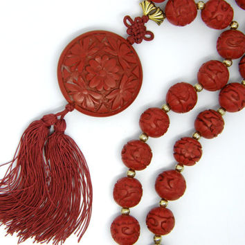 Vintage Chinese Carved Cinnabar 15mm Red Lacquer Beads Knotted Silk Cord Medallion Pendant Necklace 19""
