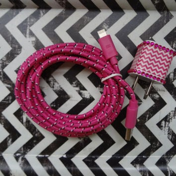 New Super Cute Jeweled Hot Pink & White Chevron Design USB Wall iphone 5,5s, 5c Charger + 10ft Hot Pink Braided Cable Cord