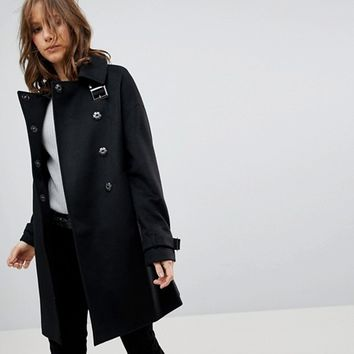 ASOS Oversized Coat with Buckle Funnel Neck at asos.com