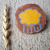 Rain Cloud Brooch / Wood Hand Painted Pin / Natural Jewelry
