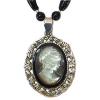 Antique Shell Cameo Necklace Jewelry Black and White Wedding One of a Kind