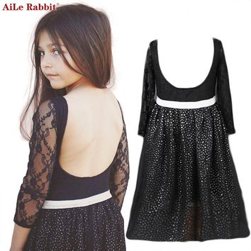 AiLe Rabbit Girl's Low Back European Lace Long-Sleeve Black Princess Dress