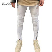 GMANCL New Ripped Patchwork Zipper Jeans Men Hit Color White Skinny Jeans Beggar Style Attrit Holes Pants Motorcycle Biker Jeans
