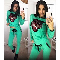 GUCCI Fashion Women Casual Sequins Long Sleeve Top Pants Sport Set Two Piece Green