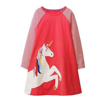 Baby Girls Unicorn Party Dresses A Line Costumes for Kids Autumn Clothes Animal Appliques Princess Dress Children Tunic Jersey