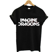2015 New Women T shirt IMAGINE DRAGONS Letters Print Cotton T-shirt Casual Funny Shirt For Lady Black White Top Tees Plus Size