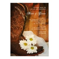 Daisies and Boots Country Wedding Invitation from Zazzle.com