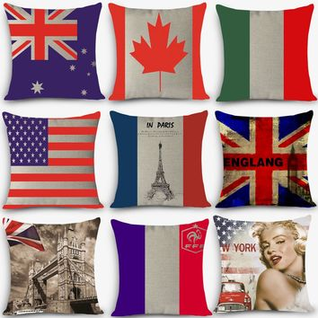 "Euro style cushions flag Print Home Decorative Cushion Throw Pillow 18"" Vintage Cotton Linen Square Pillows 45x45cm MYJ-A9"