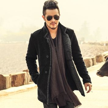 2018 PU Leather Jacket Men Long Wool Leather Standing Collar Jackets Coat Men Leather Jackets With Fur Trench Parka