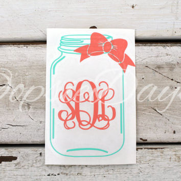 Mason jar monogram bow car decal southern preppy monogram decal sticker vinyl laptop phone custom personalized