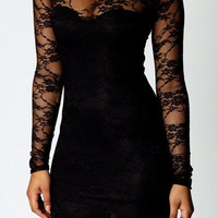 Black Floral Lace Long Sleeve Mini Dress