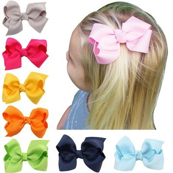 5pcs 3 Inch Crocodile Clip Hairpins Teens Girl's Hair Accessories Grosgrain Ribbon Bows Boutique Kids Daily/Praty Headwear