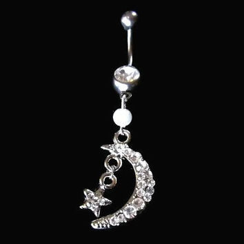 Moon Belly Ring with Star and Pearl Accent Piercing Jewelry