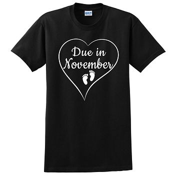 Due in November pregnancy announcement baby reveal baby shower Mother's day gift  T Shirt