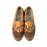 POLO Ralph Lauren Shoes Brown Leather Vintage Deck Shoes Slippers duck boots garden shoes Moccasins Galoshes Women's size 8.5