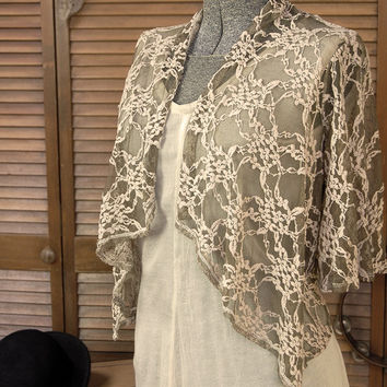 Upcycled Lace Shrug Jacket with Bohemian Gypsy Hippie Style / Size Small / One of a kind