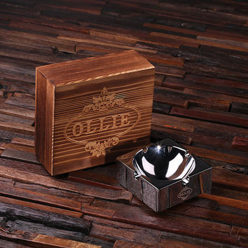 Personalized Engraved Polished Smokers Ashtray with Wood Box