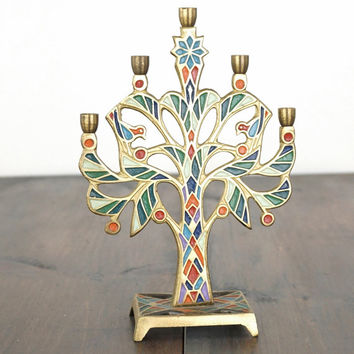Vintage Terra Sancta Guild Brass Candle Holder,Colored Enamel,Made In Israel