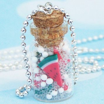 Watermelon Apothecary Jar Necklace by SweetCherryShop on Etsy