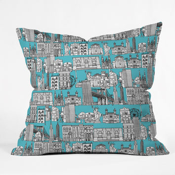 Sharon Turner New York Blue Throw Pillow