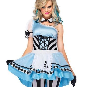 CREYI7E 3PC.Psychedelic Alice,high/low apron dress,collar,headband in BLUE/WHITE