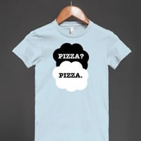 Funny 'Pizza? Pizza.' T-shirt with white and black clouds