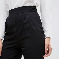 ASOS High Waist Tapered Pants with Elasticated Back at asos.com