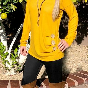 Shrug Them Off 3-Button Sweater Top: Mustard