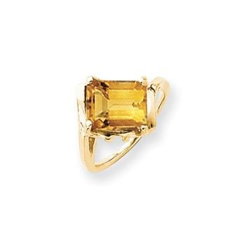 14k Yellow Gold 10x8mm Emerald Cut Citrine Ring