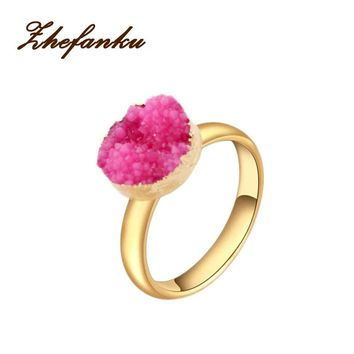 5 Colors Ring Gold Color Electroformed Druzy Stone Jewelry Rings For Women Gifts