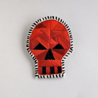 Halloween skull brooch with red geometric design embroidered Day of the Dead
