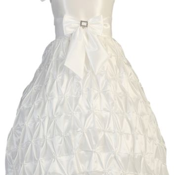 Pinched & Gathered Skirting on White Taffeta First Holy Communion Dress (Girls Sizes 6 to 12)