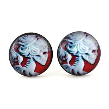 Skull Portrait Cameo Stud Earrings Silver Tone EL21 Gothic Art Fashion Jewelry