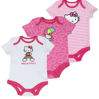 Hello Kitty Newborn Baby's 3-Pack Hello Kitty Onesuits