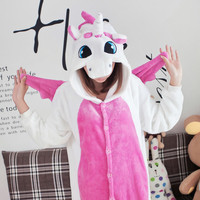 Pink Unicorn Unisex Flannel Adult Animal Onesuit Cut Animal Pajamas Cosplay Onesuits Hooded Onesuits For Adults Pijama