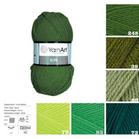 YarnArt ELITE, green pattern yarn, knitting acrylic yarn, crochet acrylic yarn, knitting supplies, scarf yarn, sock yarn, sweater yarn,