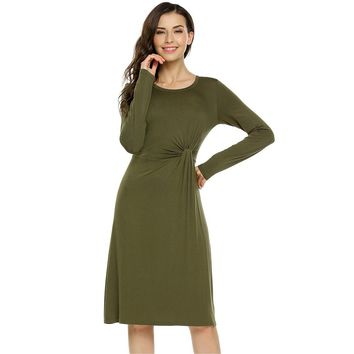 Army Green Round Neck Long Sleeve Dress