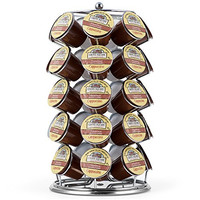 K Cup Holder,Oak Leaf Coffee Storage Spinning Carousel Organizer for Keurig K-Cups - 35 Pod, Electroplated
